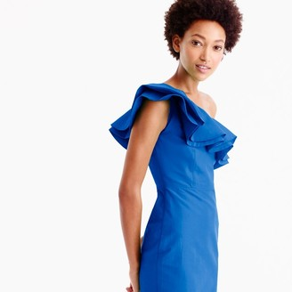 Petite one-shoulder ruffle dress in faille $168 thestylecure.com