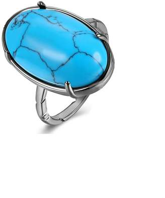 Gnzoe Jewelry Black Mental Plated Ring Women Oval Turquoise Size 7