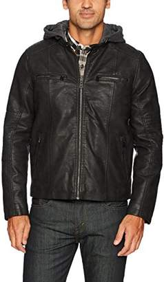 Levi's Men's Buffed Cow Faux Leather Hooded Racer