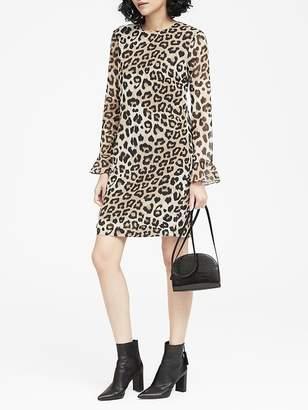 Banana Republic Petite Leopard Print Ruffle-Cuff Shift Dress