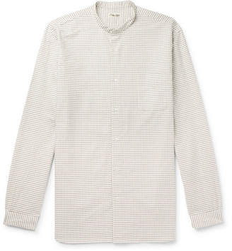 Camoshita Grandad-Collar Checked Cotton Shirt