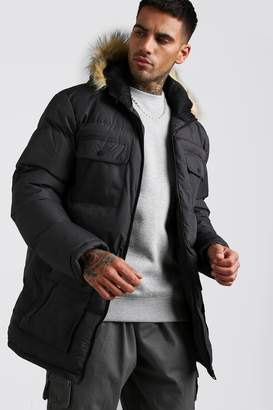 71145664c5c7 boohoo Multi Pocket Quilted Parka with Faux Fur Hood