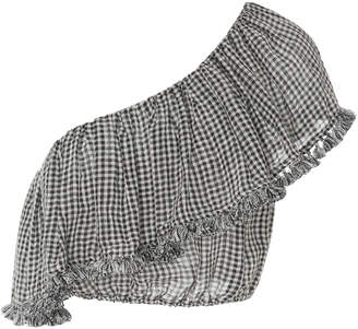Zimmermann Paradiso Gingham One Shoulder Frill Top $350 thestylecure.com