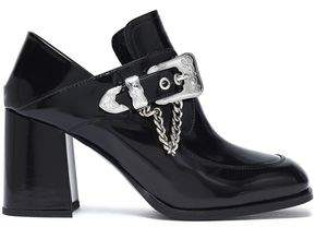 McQ Leah Buckled Glossed-Leather Ankle Boots