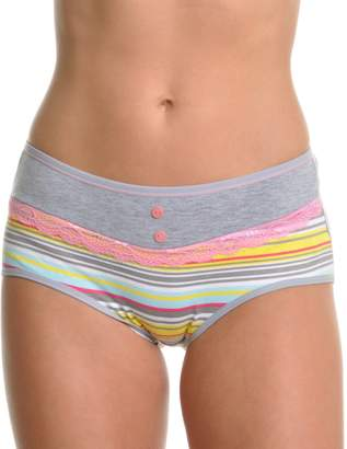 Angelina 6-Pack Assorted Sunset Stripes with Lace-Trim Briefs, (4-6)