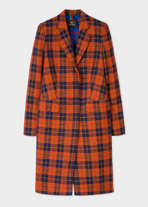 Paul Smith Women's Orange And Navy Check Cotton And Wool-Blend Epsom Coat