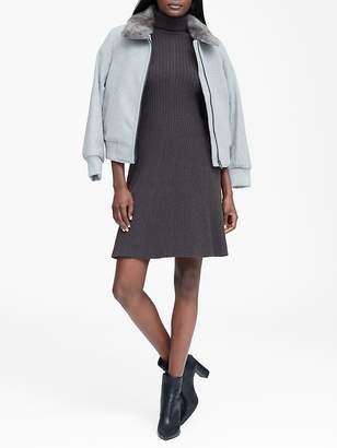 Banana Republic Ribbed Cotton-Blend Turtleneck Sweater Dress
