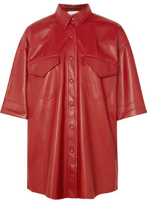 Nanushka - Seymour Vegan Faux Leather Shirt - Red