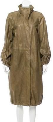 Oscar de la Renta Long Leather Coat