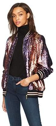 True Religion Women's Pailette Sequin Bomber Jacket
