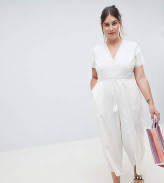 Asos Design Curve Cotton Embroidered Jumpsuit With Tassel Trim