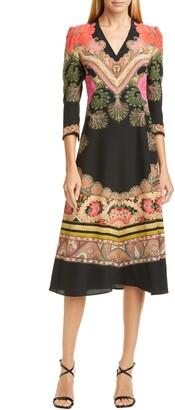 Etro Print Silk Fit & Flare Midi Dress