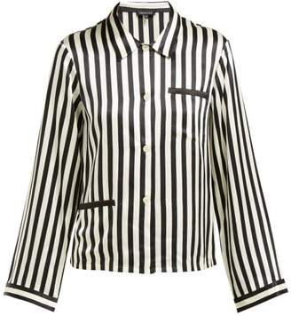 Morgan Lane - Ruthie Striped Silk Charmeuse Pyjama Top - Womens - Black White