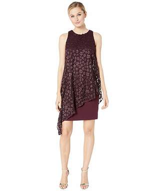 Tahari ASL Sleeveless Crepe Shift with Embroidered Chiffon Overlay