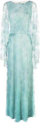 Tadashi Shoji sheer cape evening dress