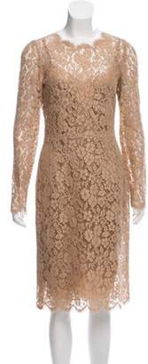 Dolce & Gabbana Guipure Lace Midi Dress w/ Tags Tan Guipure Lace Midi Dress w/ Tags