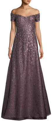 Rene Ruiz Off-the-Shoulder Lace Gown