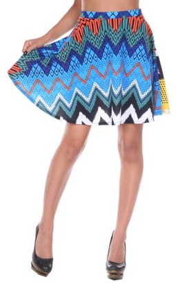 White Mark Women's Chevron Printed Fit and Flare Skirt