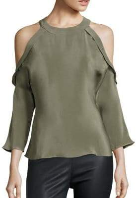 Ramy Brook Vivica Ruffle Silk Cold-Shoulder Blouse