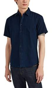 Brooklyn Tailors Men's Piqué Cotton Short Sleeve Shirt - Blue