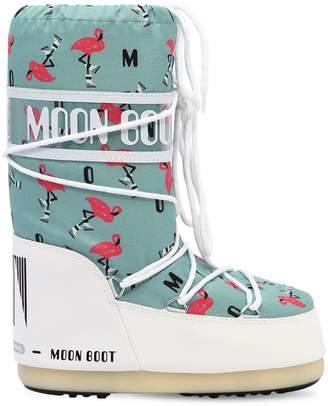 Moon Boot Flamingo Printed Nylon Snow Boots