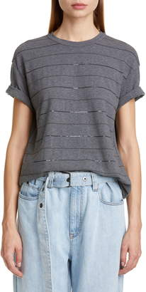 Brunello Cucinelli Sequin Stripe Tee