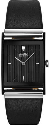 Citizen Eco-Drive Mens Rectangular Black Leather Strap Watch BL6005-01E