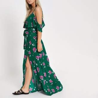 River Island Womens Petite green floral button front maxi dress