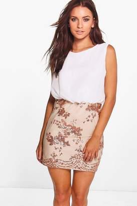 boohoo Boutique Brea Chiffon Top Sequin Skirt 2 in 1 Dress