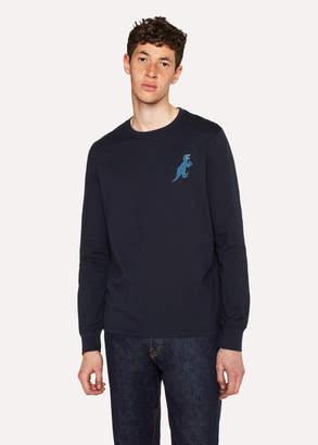 Paul Smith Men's Dark Navy 'Dino' Print Organic-Cotton Long-Sleeve T-Shirt