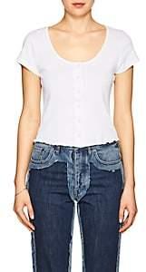 Frame Women's Cotton Button-Front T-Shirt-White