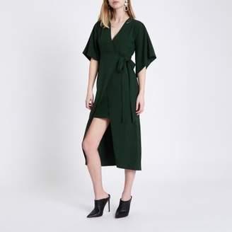 River Island Womens Green wrap front kimono sleeve midi dress