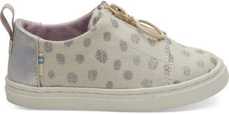 Natural Metallic Torn Dots Tiny TOMS Lenny Sneakers
