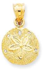 JewelryWeb 14k Yellow Gold Open back Solid Polished Laser-Cut Sand Dollar Pendant - Measures 21x17mm