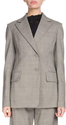 Proenza Schouler Notched-Collar Single-Breasted Two-Button Plaid Wool Suiting Blazer