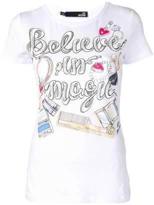 Love Moschino believe in magic print T-shirt