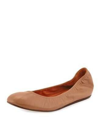 Lanvin Scrunched Goatskin Ballerina Flat, Nude $495 thestylecure.com