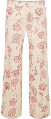 Aries Floral-print High-rise Straight-leg Jeans