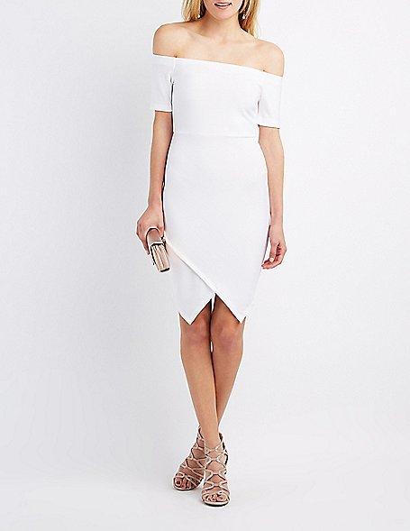 Texutred Off-The-Shoulder Envelope Hem Dress