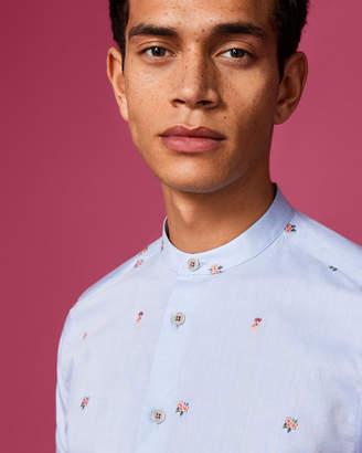 GRALOHA Flower motif cotton grandad shirt