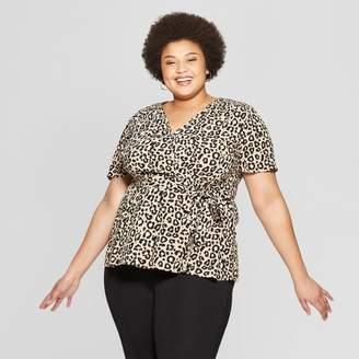 50a8d1d1da45 Ava & Viv Women's Plus Size Leopard Print Short Sleeve V-Neck Wrap Top Tan