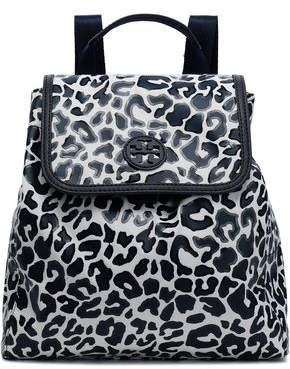 Tory Burch Leopard-Print Coated Twill Backpack