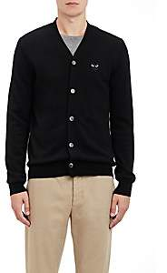 Comme des Garcons Men's Heart Patch V-Neck Cardigan - Black
