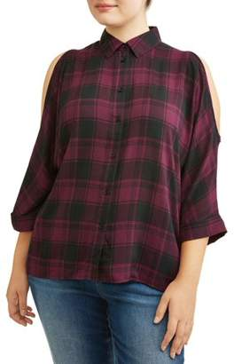 Miss Lili Women's Plus Size Plaid Relaxed Button Up Cold Shoulder Blouse