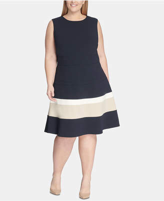 999fc3c9cb7 Tommy Hilfiger Plus Size Scuba Fit   Flare Dress