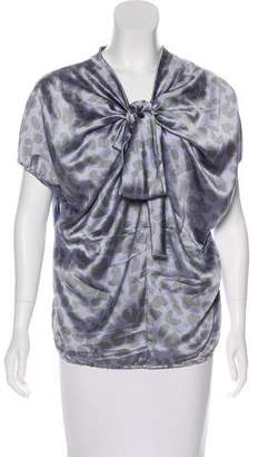 David Szeto Silk Printed Draped Blouse