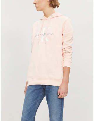 Calvin Klein Monogram-embroidered cotton-jersey hoody
