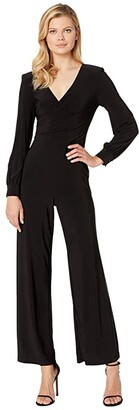 Adrianna Papell Matte Jersey Draped Jumpsuit with V-Neckline and Long Sleeve