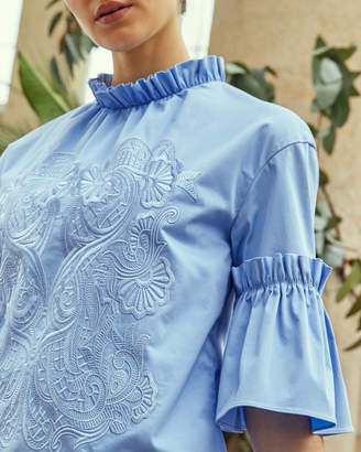 Ted Baker GLARINA Ruffle sleeve high neck cotton top