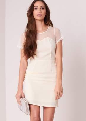 63177056371 at Missy Empire · Missy Empire Missyempire Peyton Cream Short Sleeved Mesh  Panel Mini Dress